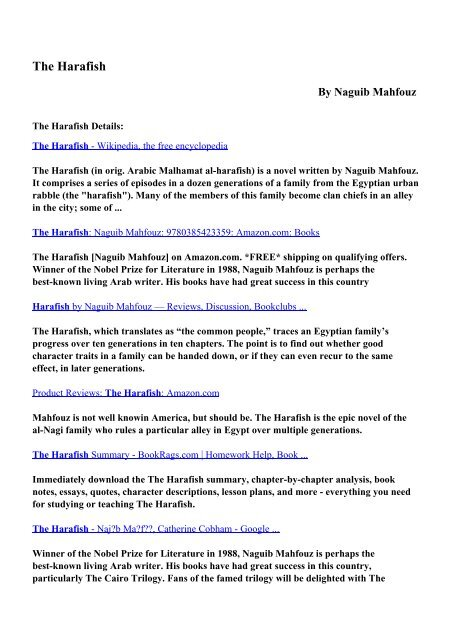 Download The Harafish pdf ebooks by Naguib Mahfouz