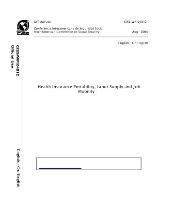 Health Insurance Portability, Labor Supply and Job Mobility - CISS