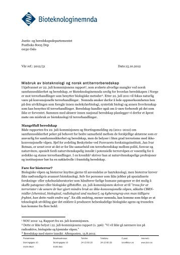Bioteknologinemnda sitt brev til norske myndigheiter om beredskap ...