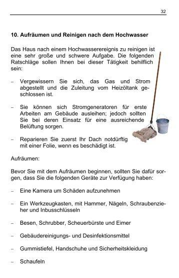 10. Aufräumen und Reinigen nach dem Hochwasser Das Haus ...
