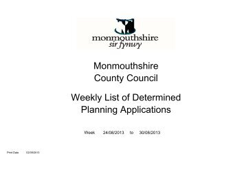 Monmouthshire County Council Weekly List of Determined Planning ...