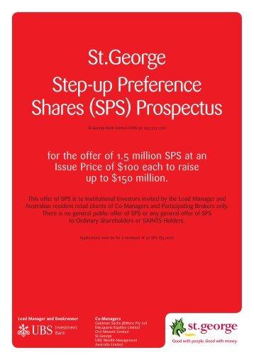 St.George Step-up Preference Shares (SPS) Prospectus
