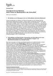 Zwölf Thesen zur Medienpolitik in der Online-Welt - Politische ...