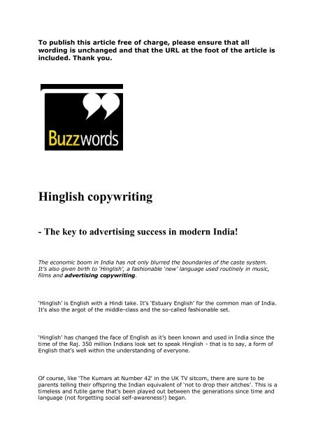 Hinglish copywriting - The key to advertising success in