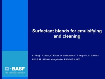 Surfactant blends for emulsifying and cleaning - Sepawa