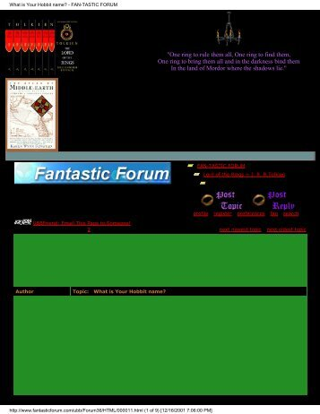 What is Your Hobbit name? - Fantastic Forum