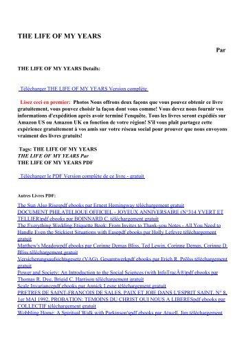 THE LIFE OF MY YEARSpdf ebooks par téléchargement gratuit