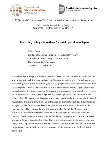 Simulating policy alternatives for public pension in Japan (pdf)