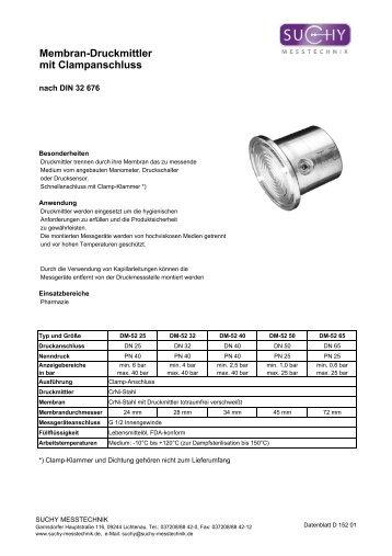 Membran-Druckmittler mit Clampanschluss - Suchy Messtechnik