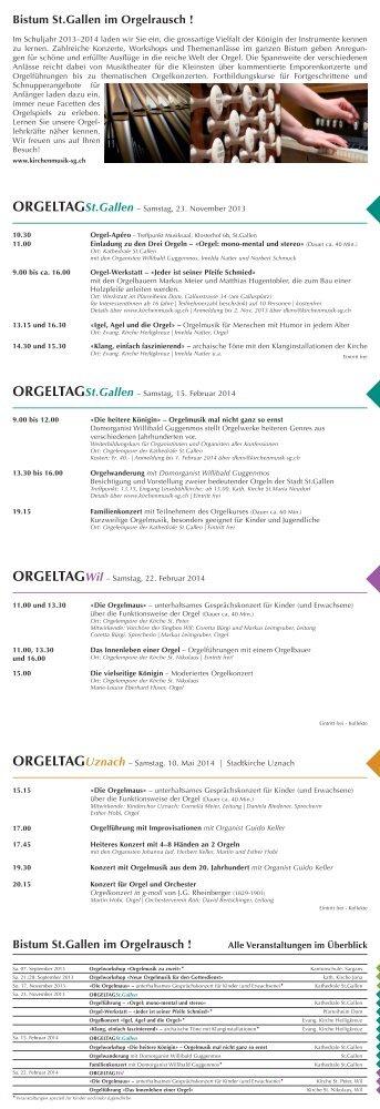 """prospekt """"orgelrausch"""" - Kirchenmusik in St. Gallen"""