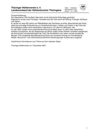 Stellungnahme zu den Sicherungsarbeiten im Altensteiner ... - VdHK