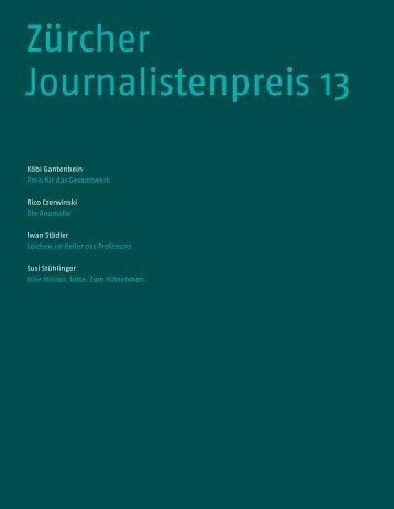 Broschüre zum Zürcher Journalistenpreis 2013