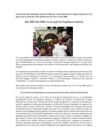 Leçons tirées des Expulsions massives d'Haïtiens et de Dominicains ...
