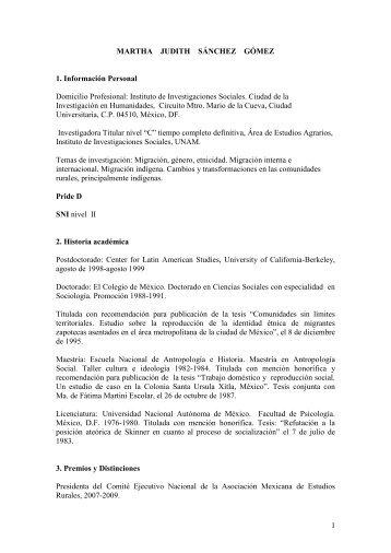 MARTHA JUDITH SÁNCHEZ GÓMEZ - Páginas Personales UNAM