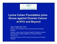 Advances in Ovarian Cancer at NYU & Beyond - The Lynne Cohen ...