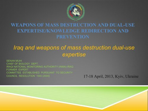 Iraq and weapons of mass destruction dual-use expertise