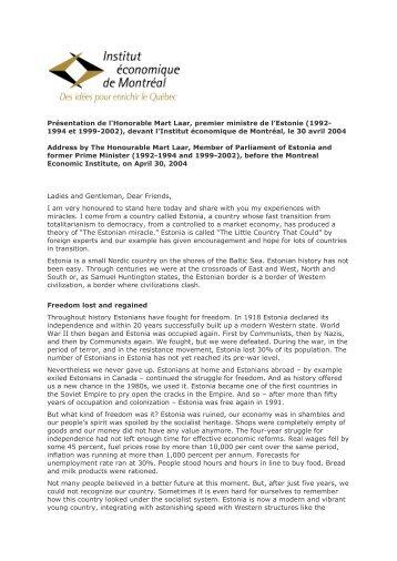 Presentation by Mart Laar (PDF format) - IEDM