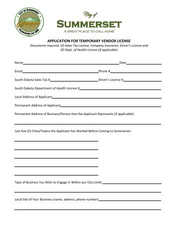 Application for Temporary Vendor License - Summerset