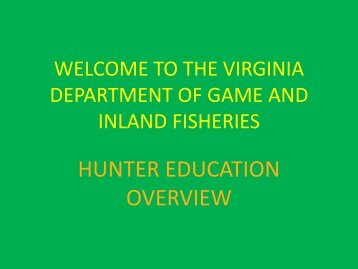 What You Should Know - Virginia Department of Game and Inland ...