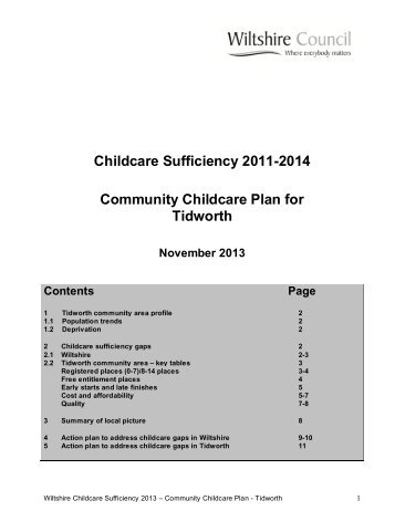 Childcare Sufficiency 2011-2014 Community ... - Wiltshire Council