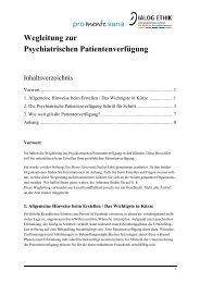 Wegleitung zur Psychiatrischen Patientenverfügung - Dialog Ethik
