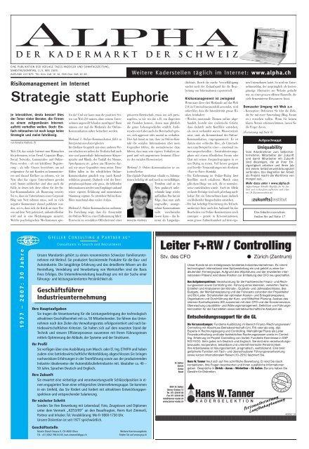 Strategie statt Euphorie - Tagesanzeiger e-paper - Tages-Anzeiger