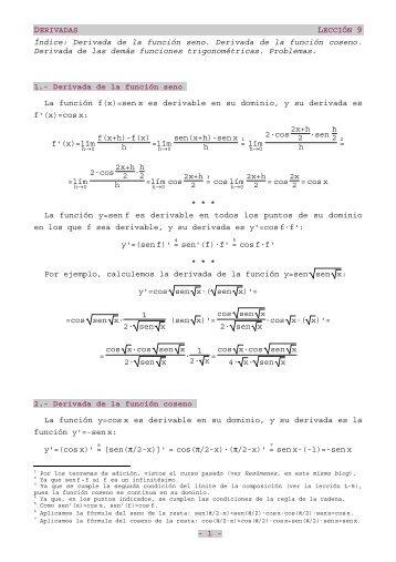 Derivada de las funciones trigonométricas - Multiblog