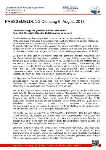 PRESSEMELDUNG Dienstag 6. August 2013 - DLRG Ortsgruppe ...