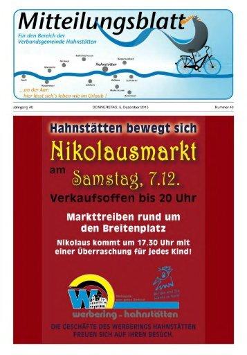 Mitteilungsblatt Nr. 49 vom 05.12.2013 - VG Hahnstätten