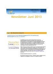 Newsletter Juni 2013 - Der Lehrerclub der Stiftung Lesen