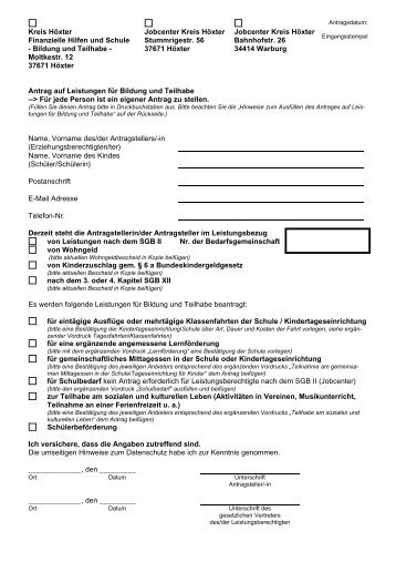 Kreis Höxter Finanzielle Hilfen und Schule - Bildung und Teilhabe ...