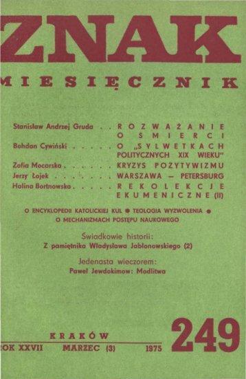 Nr 249, marzec 1975 - Znak