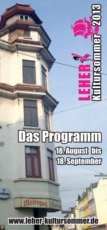 Das Programm - Leher Kultursommers 2013