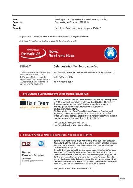 Newsletter Rund ums Haus Oktober 2013 (PDF) - VPV Makler