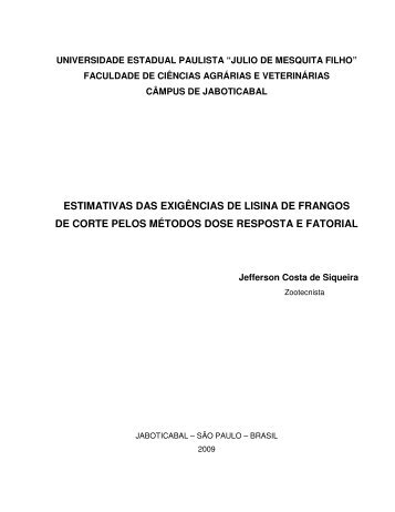 ESTIMATIVAS DAS EXIGÊNCIAS DE LISINA DE FRANGOS ... - Unesp