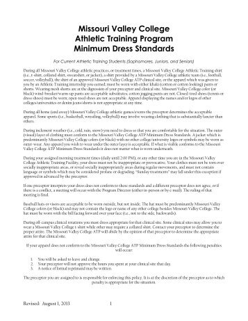 Minimum Dress Standards - Missouri Valley College