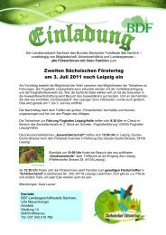 Zweiten Sächsischen Förstertag am 3. Juli 2011 ... - Treffpunkt Wald