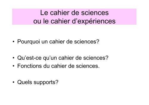 Cahier de sciences Cycle 3