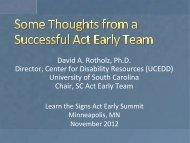 David A. Rotholz, Ph.D. Director, Center for Disability ... - LEND