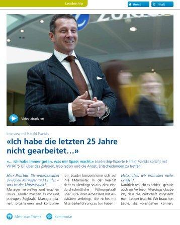 «Ich habe die letzten 25 Jahre nicht gearbeitet…» - Harald Psaridis