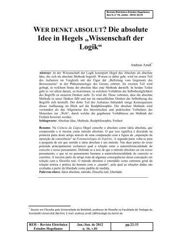 "Die absolute Idee in Hegels ""Wissenschaft der Logik"""