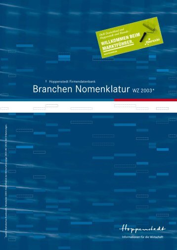 Branchen Nomenklatur WZ 2003* - Hoppenstedt Firmendatenbank
