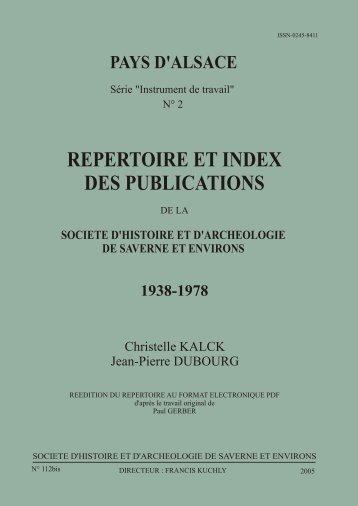 Répertoire 1938-1978 - société d'histoire et d'archéologie de ...
