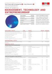 MANAGEMENT, TECHNOLOGY AND ENTREPRENEURSHIP - EPFL