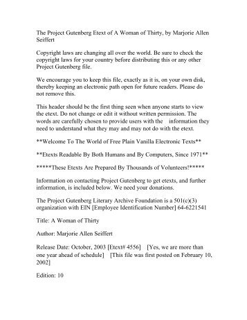 The Project Gutenberg Etext of A Woman of Thirty, by ... - Umnet
