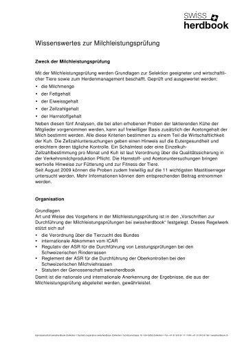 Wissenswertes zur MLP - Swissherdbook