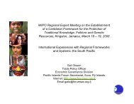 International Experiences with Regional Frameworks and ... - WIPO