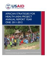 AFRICAN STRATEGIES FOR HEALTH (ASH) PROJECT ANNUAL ...