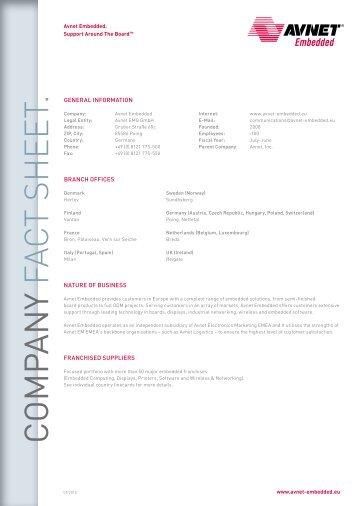 Avnet Embedded Fact Sheet