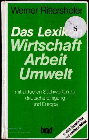 Werner Rittershofer Das Lexikon Wirtschaft - Arbeit ... - buchkalmar.de